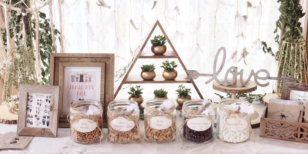 Woodland Baby Shower Trail Mix Bar